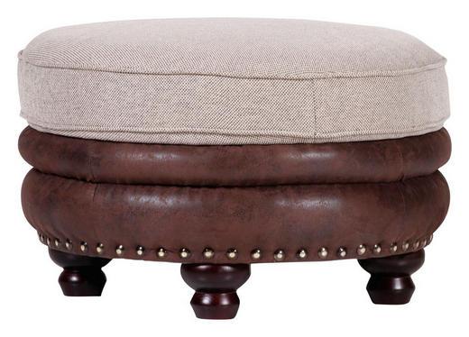 HOCKER Lederlook, Webstoff Beige, Dunkelbraun - Beige/Dunkelbraun, Trend, Holz/Textil (74/50cm) - Carryhome