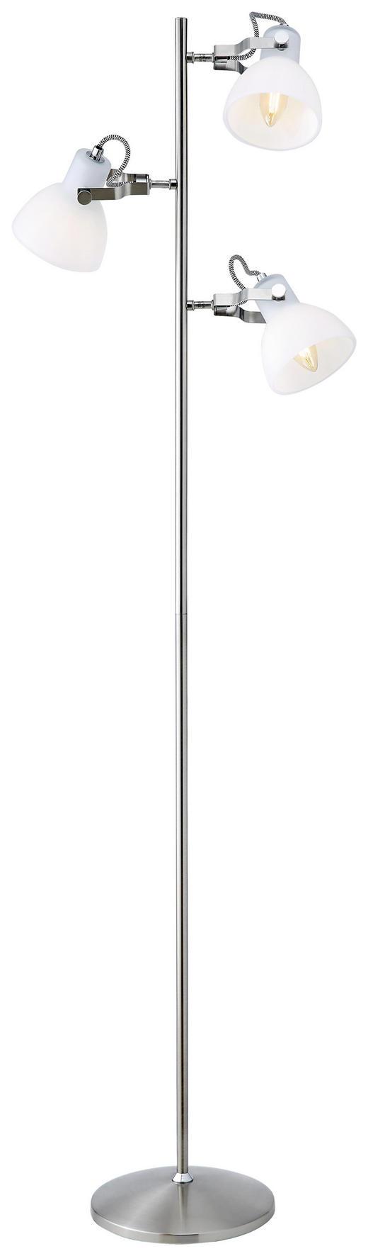STEHLEUCHTE - Weiß/Nickelfarben, Basics, Glas/Metall (37/150/24cm)