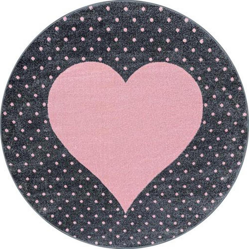 Ben'n'jen Kinderteppich Bambi 830 , Pink , Textil , Herz , rund , Oeko-Tex® Standard 100 , für Fußbodenheizung geeignet, schmutzabweisend, Hausstauballergiker lichtunempfindlich, antistatisch, waschbar, pflegeleicht, strapazierfähig, leicht zusammenrollbar , Teppiche & Böden, Teppiche, Kinderteppiche