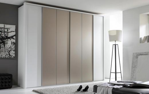 DREHTÜRENSCHRANK 6-türig Taupe, Weiß - Taupe/Alufarben, Design, Glas/Holzwerkstoff (300/223/62cm) - Dieter Knoll
