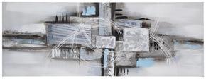 OLJEMÅLNING - vit/blå, Design, metall/trä (150/55cm) - Monee