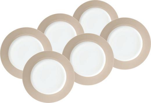 DESSERTTELLERSET Keramik Porzellan 6-teilig - Taupe/Weiß, Basics, Keramik (21/6,5/21cm)