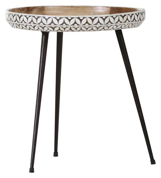 BEISTELLTISCH Mangoholz massiv Schwarz, Weiß - Schwarz/Weiß, Design, Holz/Metall (50/55cm) - Carryhome