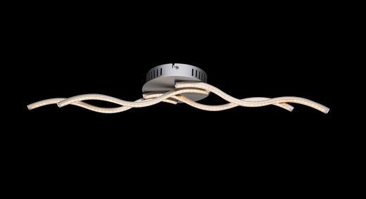 LED-DECKENLEUCHTE - Opal/Nickelfarben, MODERN, Kunststoff/Metall (70/16/7cm)