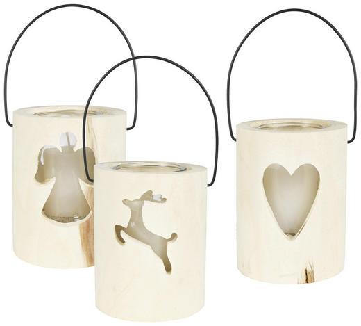 WINDLICHT - Naturfarben, Basics, Glas/Holz (15/18cm) - Ambia Home