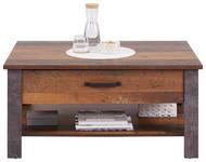 Couchtisch Holz mit Ablagefach + Schublade Ontario Old Style - Eichefarben/Dunkelgrau, Trend, Holzwerkstoff (101/50,5/70cm) - Ombra