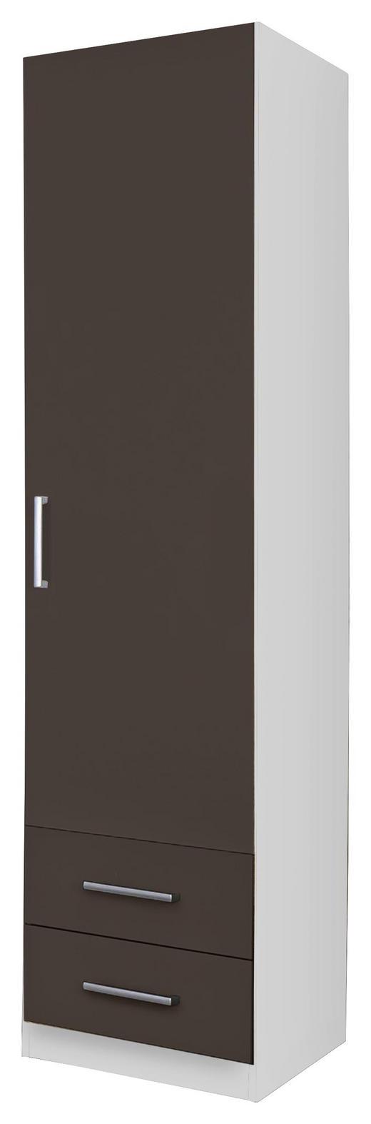 DREHTÜRENSCHRANK 1-türig Grau, Weiß - Silberfarben/Weiß, Design, Holzwerkstoff/Kunststoff (47/197/54cm) - Carryhome