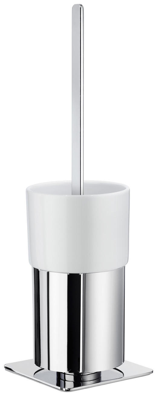 WC-BÜRSTENHALTER - Chromfarben/Weiß, Basics, Keramik/Metall (11/51/10,3cm)