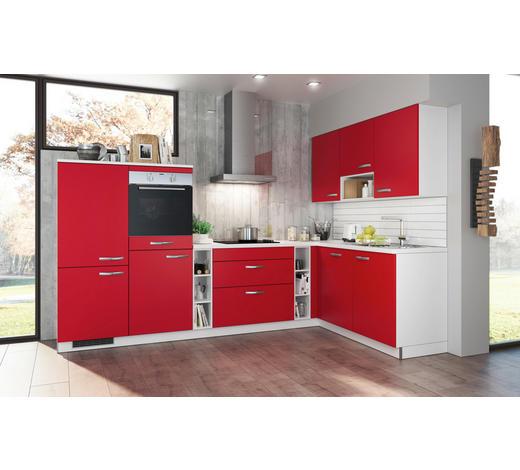 ECKKÜCHE Spüle, Soft-Close-System   - Rot/Weiß, Design (315/185cm) - Stylife