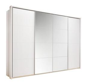 SKJUTDÖRRSGARDEROB - vit/alufärgad, Klassisk, metall/träbaserade material (325/230/62cm) - Xora