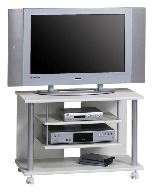 TV-ELEMENT Silberfarben, Weiß - Silberfarben/Weiß, Design, Kunststoff (80/55/40cm)