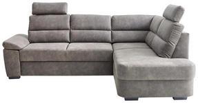 WOHNLANDSCHAFT Lederlook Bettkasten, Rücken echt, Sitzvorzug - Dunkelbraun/Grau, KONVENTIONELL, Kunststoff/Textil (251/193cm) - Cantus