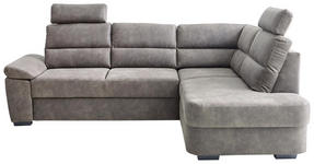 WOHNLANDSCHAFT Grau Lederlook - Dunkelbraun/Grau, KONVENTIONELL, Kunststoff/Textil (251/193cm) - Cantus