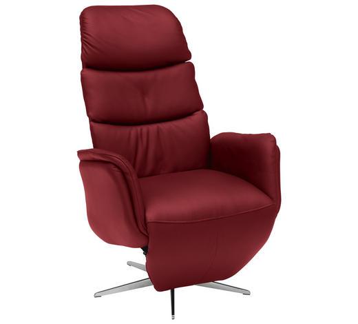 RELAXSESSEL in Leder Rot - Chromfarben/Rot, Design, Leder/Metall (80/118/88cm) - Welnova