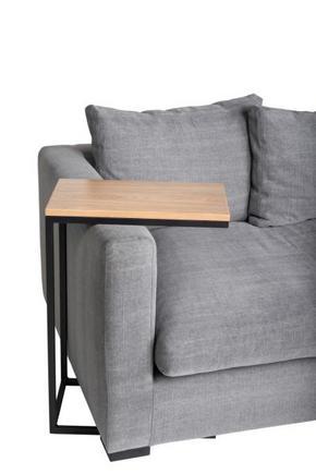 AVLASTNINGSBORD - svart/ekfärgad, Modern, metall/trä (50/30/71cm)