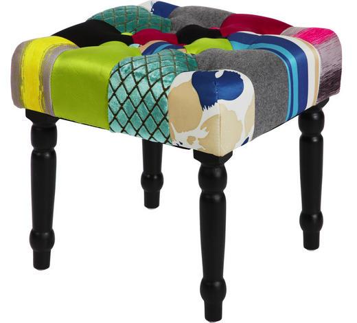 TABURE - tamno smeđa/višebojno, Design, tekstil/drvo (40/40/40cm) - Hom`in