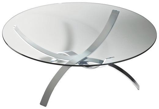 COUCHTISCH rund Chromfarben - Chromfarben, Design, Glas/Metall (105/45cm)