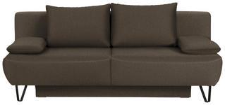 SCHLAFSOFA in Textil Braun - Schwarz/Braun, MODERN, Textil/Metall (202/90/91cm) - Xora