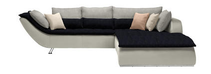 WOHNLANDSCHAFT Dunkelblau, Hellgrau, Weiß - Chromfarben/Hellgrau, Design, Textil/Metall (300/220cm) - Hom`in