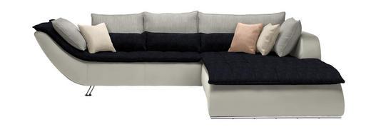 WOHNLANDSCHAFT in Textil Dunkelblau, Hellgrau, Weiß - Chromfarben/Hellgrau, Design, Textil/Metall (300/220/cm) - Hom`in