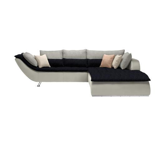 WOHNLANDSCHAFT in Textil Weiß, Hellgrau, Dunkelblau - Chromfarben/Hellgrau, Design, Textil/Metall (300/220cm) - Hom`in