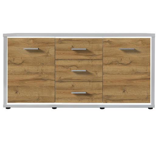 SIDEBOARD Melamin Weiß, Eichefarben  - Eichefarben/Weiß, KONVENTIONELL (145/80/38cm) - Carryhome