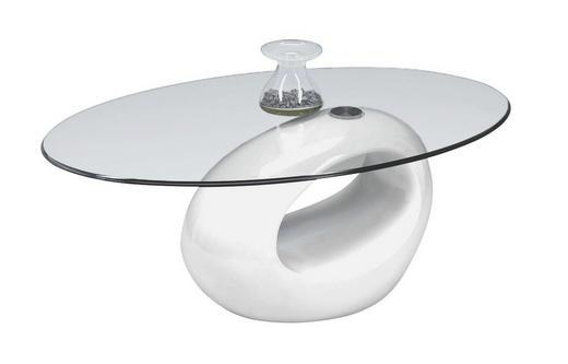 COUCHTISCH oval Weiß - Weiß, Design, Glas/Kunststoff (115/65/42cm) - CARRYHOME