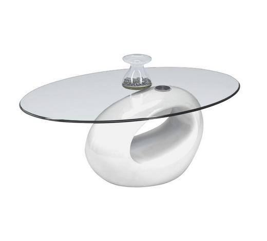 COUCHTISCH in Kunststoff, Glas 115/65/42 cm   - Weiß, Design, Glas/Kunststoff (115/65/42cm) - Xora