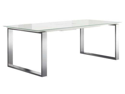 ESSTISCH rechteckig Edelstahlfarben, Weiß - Edelstahlfarben/Weiß, Design, Glas/Metall (220/100/75cm) - Hülsta - Now