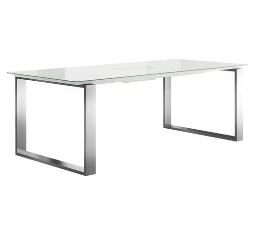ESSTISCH in Metall, Glas 220/100/75 cm - Edelstahlfarben/Weiß, Design, Glas/Metall (220/100/75cm) - Now by Hülsta