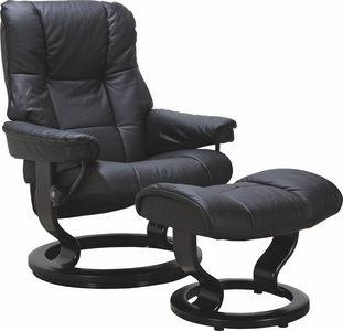 FÅTÖLJ OCH PALL - svart, Design, läder/trä (79/103/73cm) - Stressless