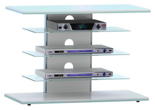TV-RACK Glas, Metall Klar, Weiß - Klar/Weiß, KONVENTIONELL, Glas/Metall (80/66/42,5cm)