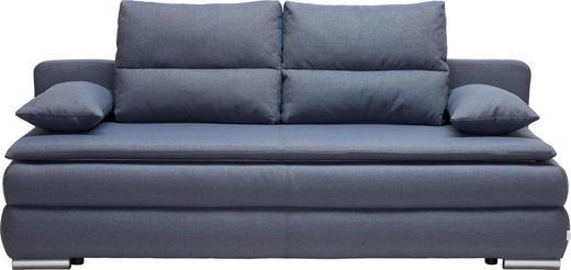 SCHLAFSOFA Webstoff Blau, Grau - Blau/Silberfarben, KONVENTIONELL, Kunststoff/Textil (207/94/90cm) - Venda