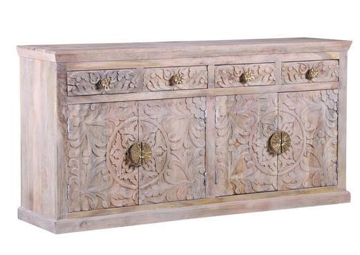 SIDEBOARD Mangoholz massiv Weiß - Goldfarben/Weiß, Design, Holz (175/88/45cm)