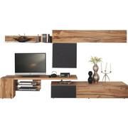 WOHNWAND Altholz, Eiche mehrschichtige Massivholzplatte (Tischlerplatte) Anthrazit, Eichefarben  - Eichefarben/Anthrazit, Design, Glas/Holz (320/178/56,7cm) - Voglauer