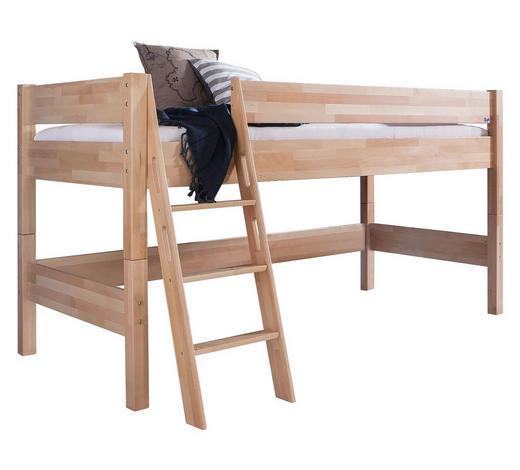 MITTELHOHES BETT - Naturfarben, Design, Holz (90/200cm)