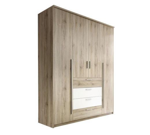 OMARA ZA OBLAČILA, bela, hrast - aluminij/bela, Design, umetna masa/leseni material (182/225/59cm) - Xora