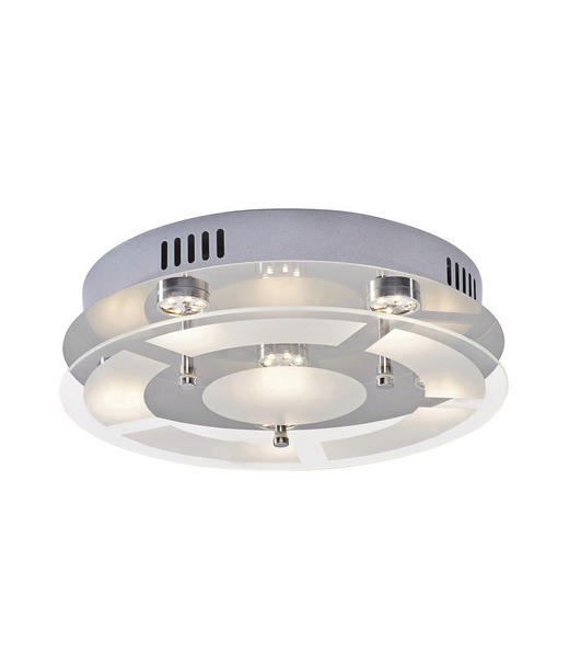 LED-DECKENLEUCHTE - Chromfarben, Design, Glas/Metall (30/7,5cm) - Novel
