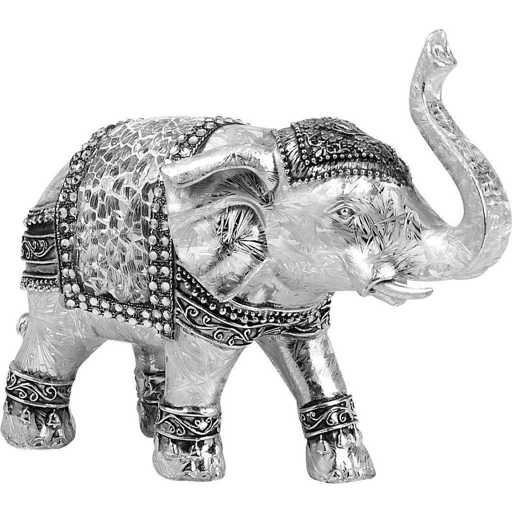 Image of Ambia Home Dekoelefant , Ny8361500 , Silberfarben, weiss , Kunststoff , 15x6.5x12.5 cm , glänzend , stehend, zum Stellen, handgemacht , 008306019101