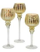 WINDLICHTSET 3  - Transparent/Goldfarben, Trend, Glas (13/40cm)