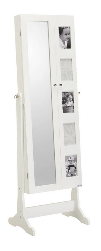 SKŘÍŇKA NA BIŽUTERII - bílá/černá, Design, kov/dřevěný materiál (41/148/47,5cm) - Xora
