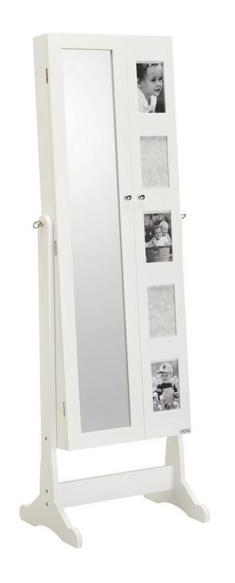 SKŘÍŇKA NA BIŽUTERII - bílá/černá, Design, kov/kompozitní dřevo (41/148/47,5cm) - Xora