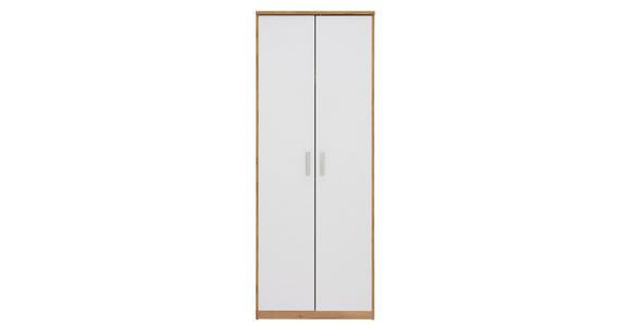 KLEIDERSCHRANK in Weiß, Eichefarben  - Eichefarben/Silberfarben, KONVENTIONELL, Holzwerkstoff/Kunststoff (72/194/54cm) - Xora