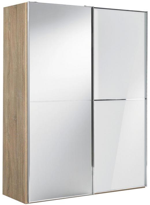 SCHWEBETÜRENSCHRANK 2-türig Sonoma Eiche, Weiß - Chromfarben/Weiß, Design, Glas/Holzwerkstoff (167/222/68cm) - Moderano