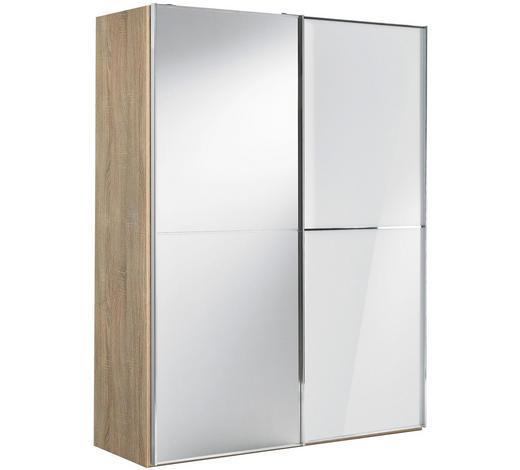 SCHWEBETÜRENSCHRANK in Weiß, Sonoma Eiche - Chromfarben/Weiß, Design, Glas/Holzwerkstoff (167/222/68cm) - Moderano