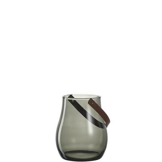 WINDLICHT - Braun/Grau, Basics, Glas/Leder (19/22cm) - Leonardo