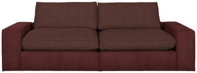 MEGASOFA in Textil Dunkelrot - Schwarz/Dunkelrot, Design, Kunststoff/Textil (266/84/123cm) - Hom`in