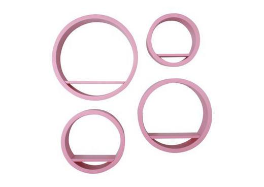 SET ZIDNIH POLICA - pink, Design, drvni materijal (39,5/39,5/9cm) - Boxxx