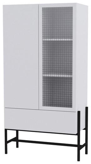 VITRINSKÅP - vit/svart, Design, metall/glas (80,1/150/42,2cm) - Lomoco