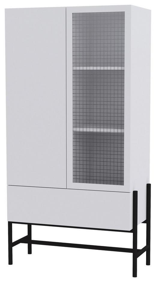 VITRINE in Schwarz, Weiß - Schwarz/Weiß, Design, Glas/Holzwerkstoff (80,1/150/42,2cm) - Lomoco